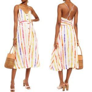 NICHOLAS Linen Striped Gauze MIDI Dress 8 NWT